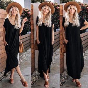 Dresses & Skirts - Summer long Black maxi cocktail casual slits dress